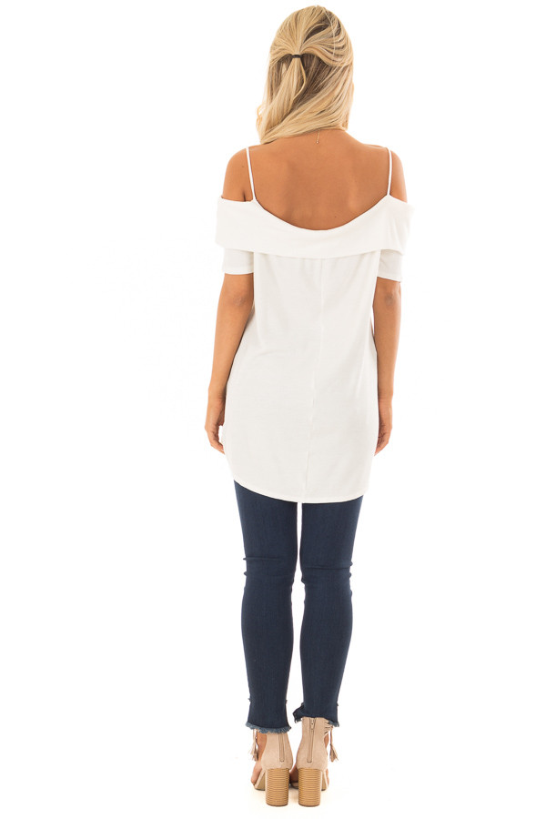 Ivory Waffle Knit Short Sleeve Top with Overlay Detail back full body