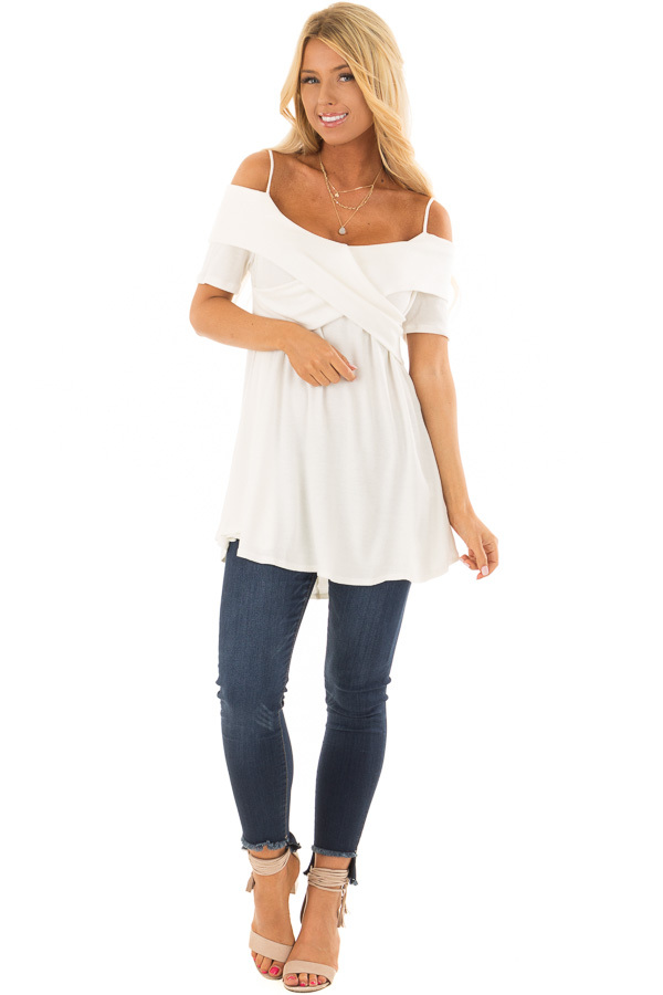 Ivory Waffle Knit Short Sleeve Top with Overlay Detail front full body