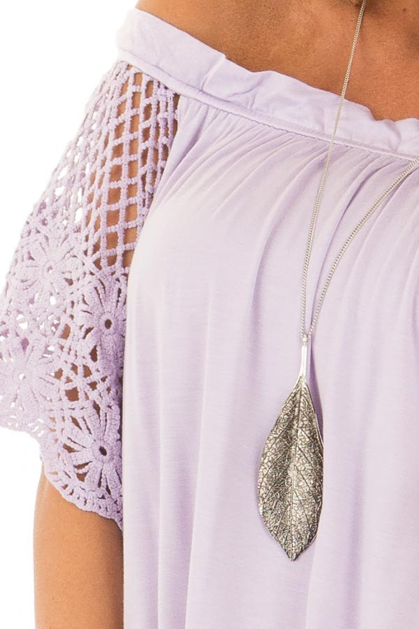Lavender Off the Shoulder Top with Sheer Crochet Sleeves front detail