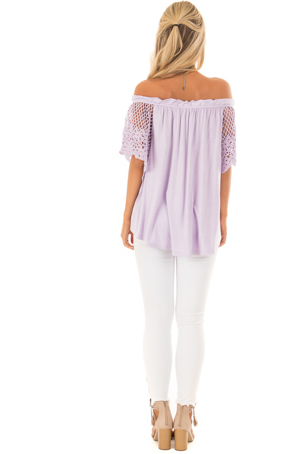 Lavender Off the Shoulder Top with Sheer Crochet Sleeves back full body