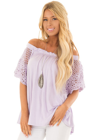 Lavender Off the Shoulder Top with Sheer Crochet Sleeves front closeup