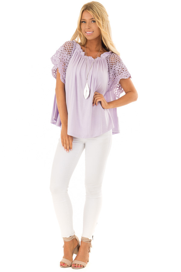 Lavender Off the Shoulder Top with Sheer Crochet Sleeves front full body