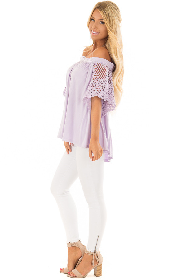 Lavender Off the Shoulder Top with Sheer Crochet Sleeves side full body