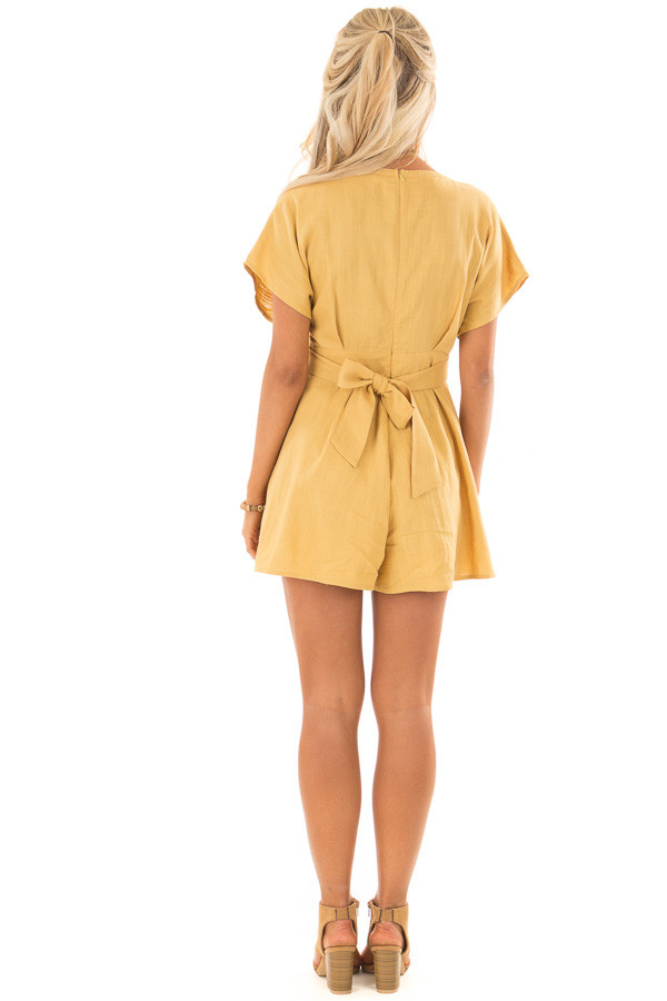 Mustard Romper with Button Detail and Waist Tie back full body