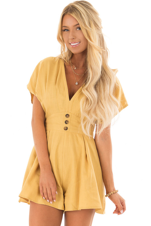 Mustard Romper with Button Detail and Waist Tie front closeup