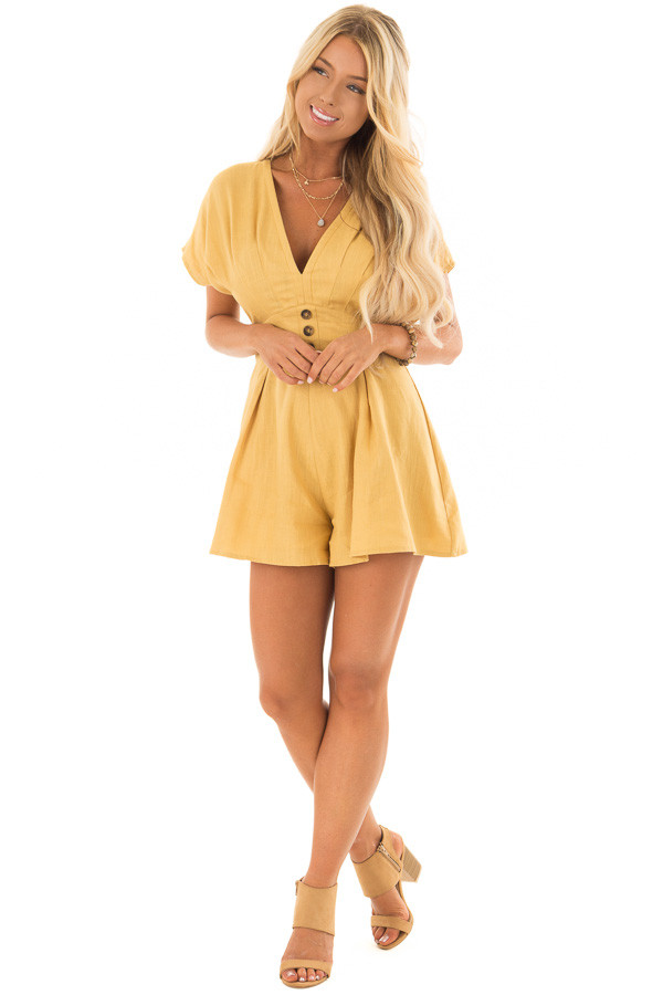 Mustard Romper with Button Detail and Waist Tie front full body