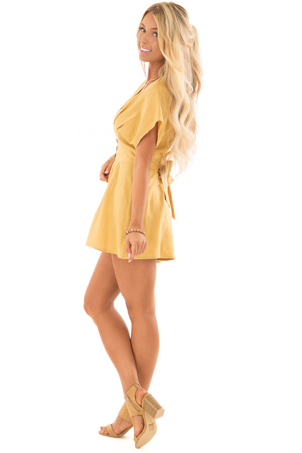 Mustard Romper with Button Detail and Waist Tie side full body