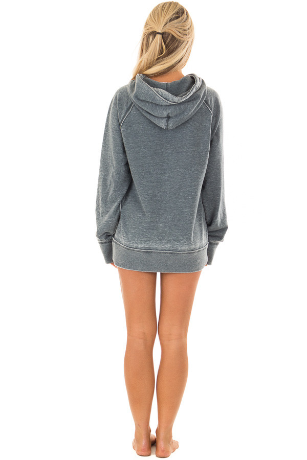 Washed Navy Soft Hoodie with White 'LAKE BUM' Print back full body