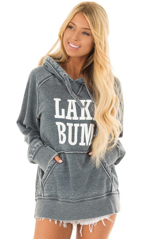 Washed Navy Soft Hoodie with White 'LAKE BUM' Print