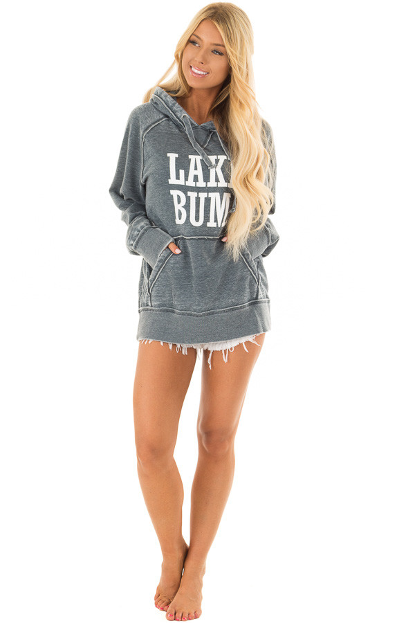 Washed Navy Soft Hoodie with White 'LAKE BUM' Print front full body