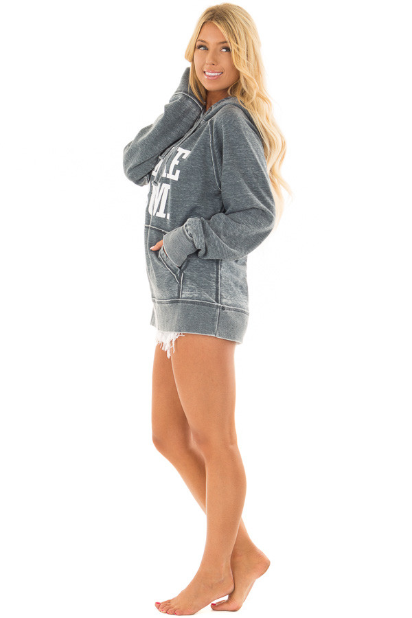 Washed Navy Soft Hoodie with White 'LAKE BUM' Print side full body
