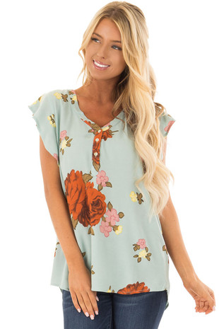 Light Mint Floral Print V-Neck Short Sleeve Top front closeup