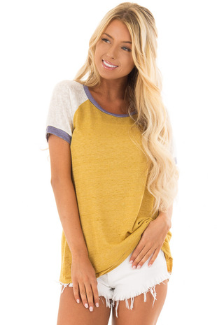 Mustard Top with White Raglan Sleeves and Navy Trim front closeup