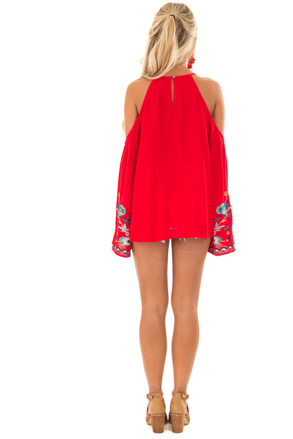 Scarlet Red Embroidered Cold Shoulder Bell Sleeve Top back full body