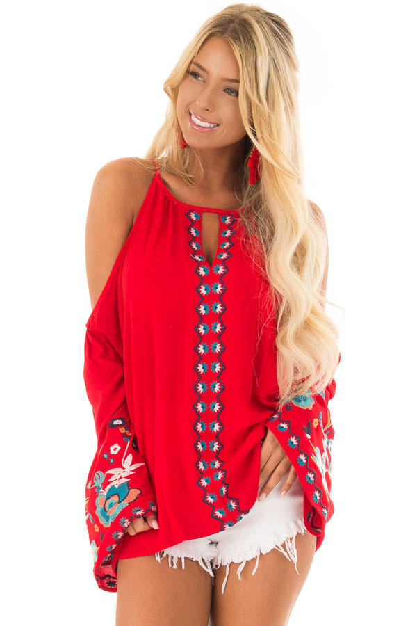 Scarlet Red Embroidered Cold Shoulder Bell Sleeve Top front closeup
