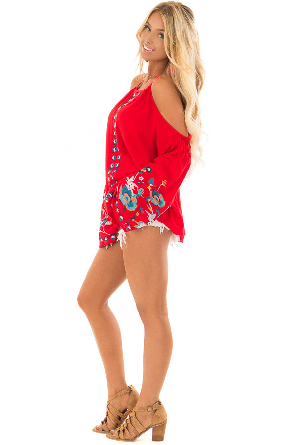 Scarlet Red Embroidered Cold Shoulder Bell Sleeve Top side full body