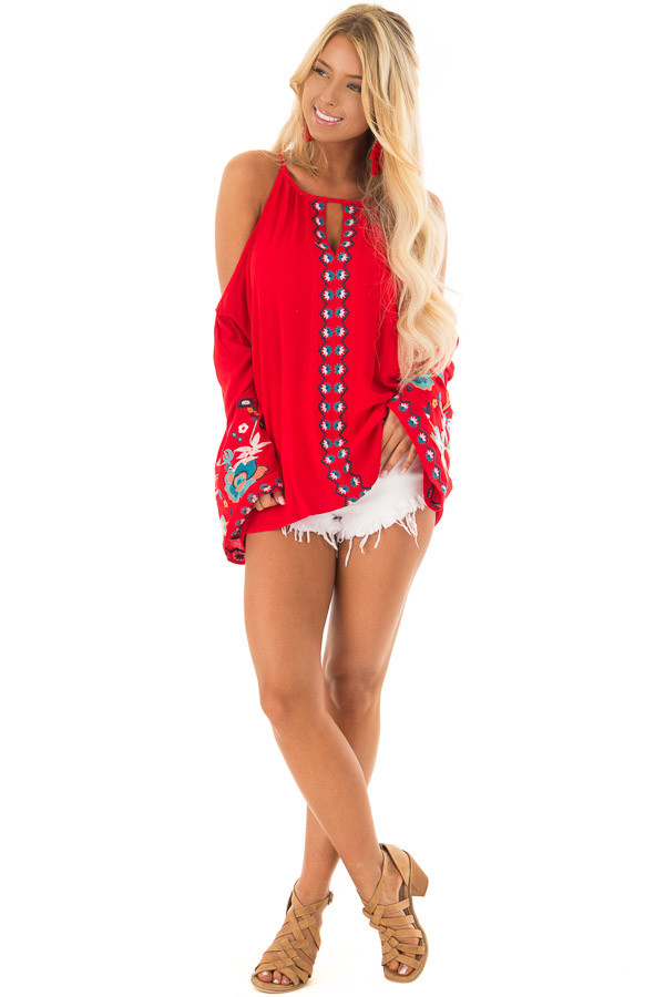 Scarlet Red Embroidered Cold Shoulder Bell Sleeve Top front full body