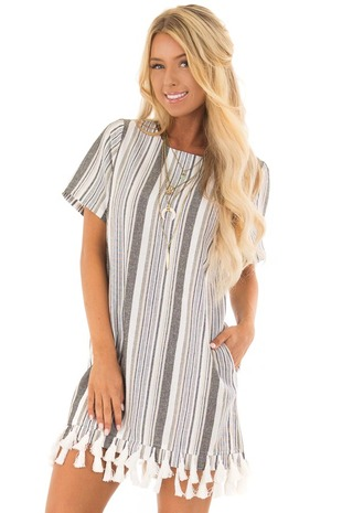 Charcoal Striped Short Sleeve Dress with Tassel Hemline front closeup