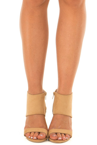 Tan Faux Suede Ankle High Heels with Open Toes front