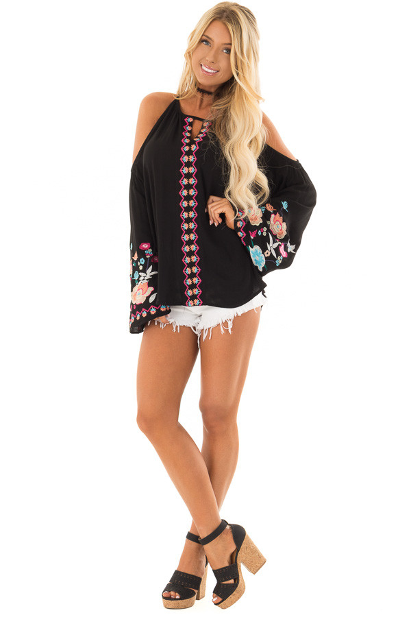 Black Embroidered Cold Shoulder Bell Sleeve Top front full body