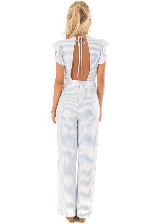 Sky Blue and White Striped Jumpsuit with Open Back back full body