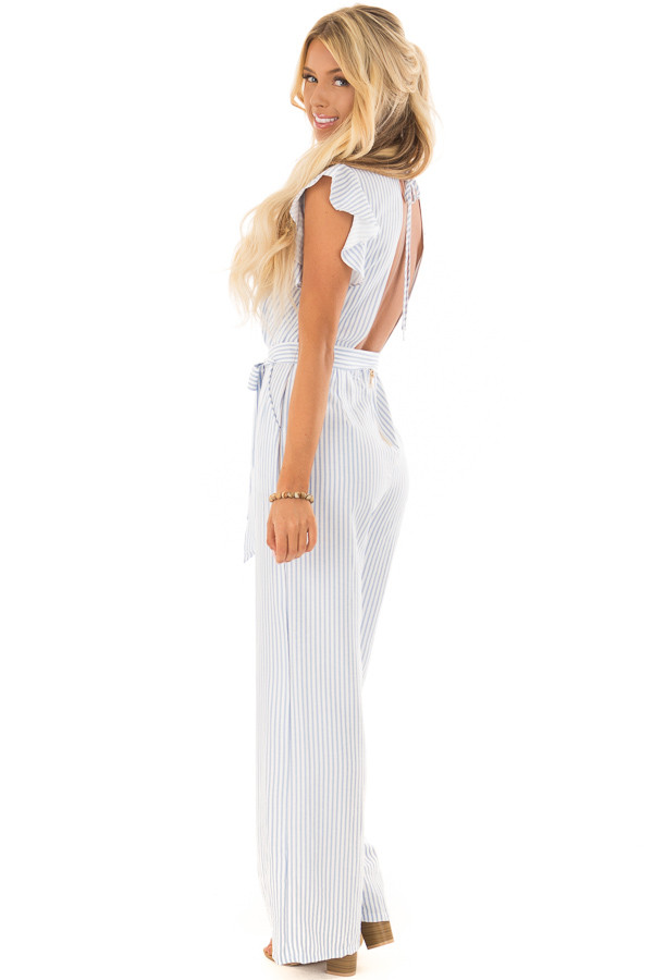 Sky Blue and White Striped Jumpsuit with Open Back side full body