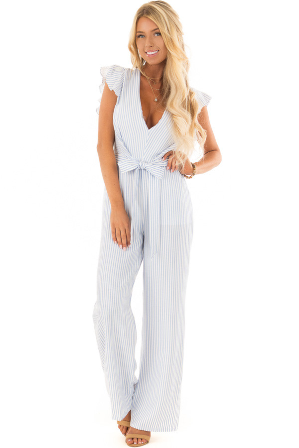 Sky Blue and White Striped Jumpsuit with Open Back front full body