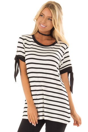 Black and White Striped Tee Shirt with Tie Sleeve Detail front closeup
