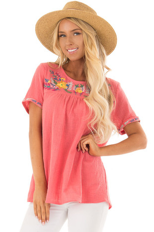 Coral Short Sleeve Top with Floral Embroidery front closeup