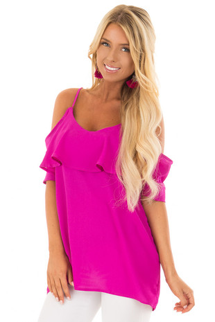 Magenta Cold Shoulder Tank Top with Ruffle Detail front closeup