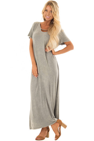 Sage Mineral Wash Comfy Dress with Cut Out Neckline front full body