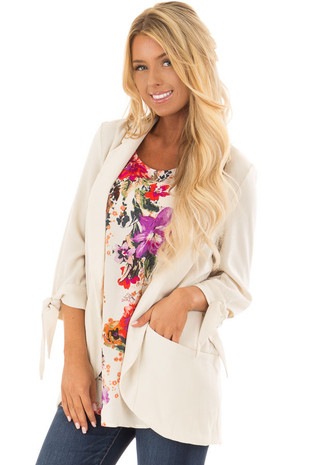Beige Open Blazer with Tie Sleeves and Pockets front closeup
