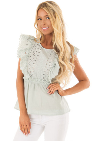 Mint Embroidery Ruffle Short Sleeve Top front closeup