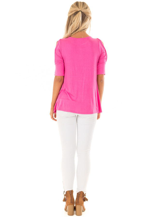 Hot Pink Top with Caged Cut Out Sleeves back full body
