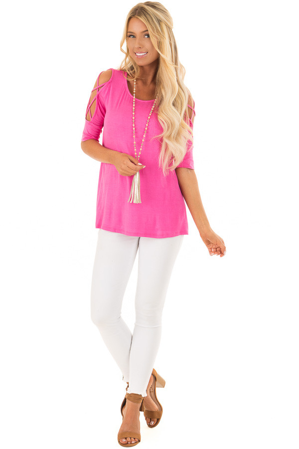 Hot Pink Top with Caged Cut Out Sleeves front full body