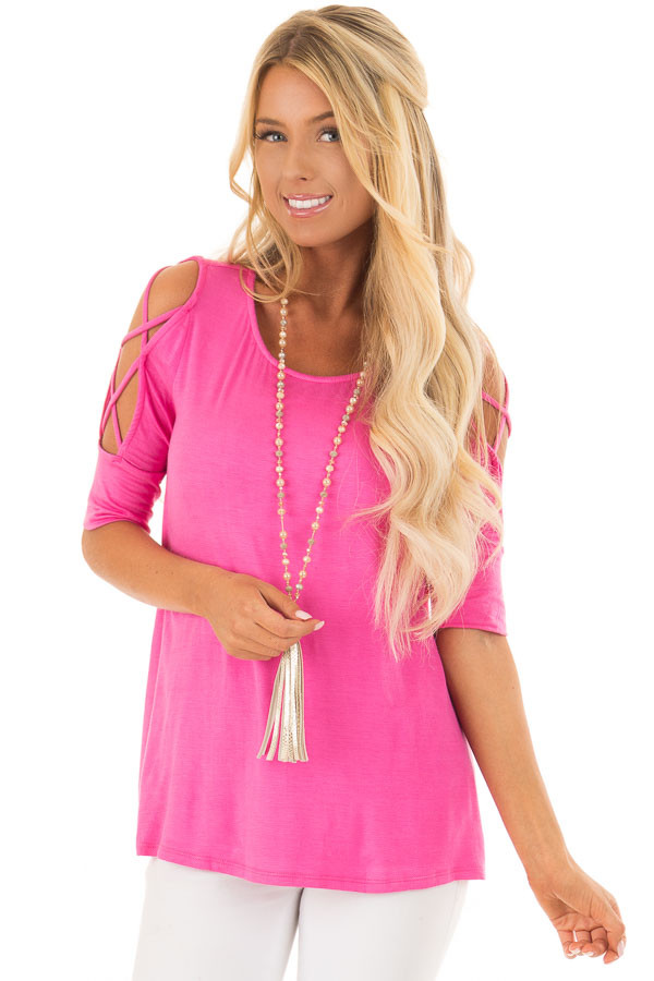 Hot Pink Top with Caged Cut Out Sleeves front closeup
