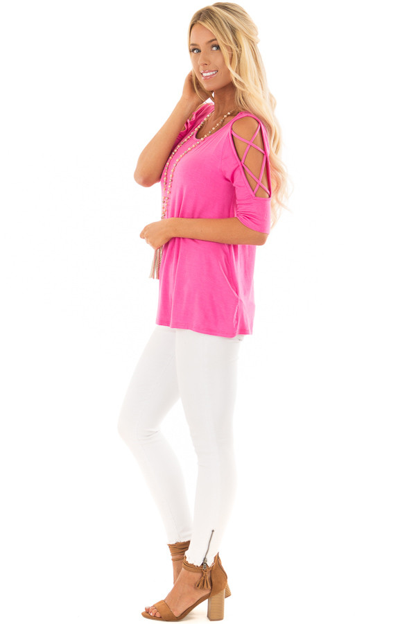 Hot Pink Top with Caged Cut Out Sleeves side full body