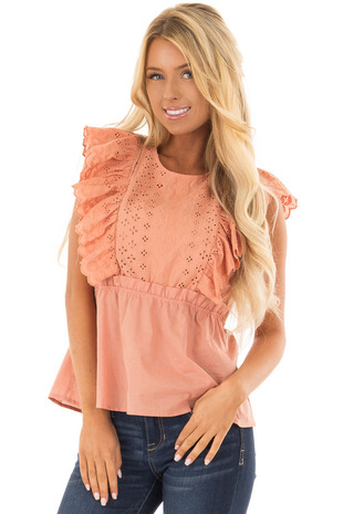 Ginger Embroidery Ruffle Short Sleeve Top front closeup