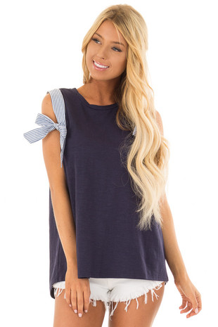 Navy Tank Top with Stripe Trim and Bow Detail front closeup