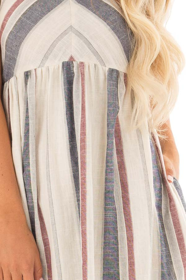 Natural Striped Halter Midi Dress with Hidden Pockets front detail