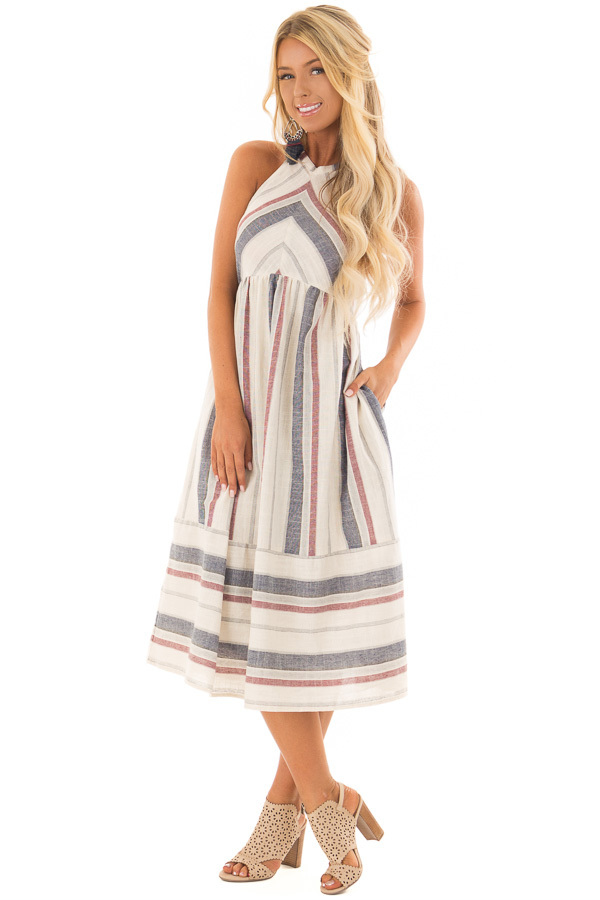 Natural Striped Halter Midi Dress with Hidden Pockets front full body