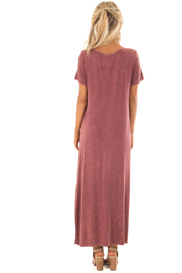Marsala Mineral Wash Comfy Dress with Cut Out Neckline back full body