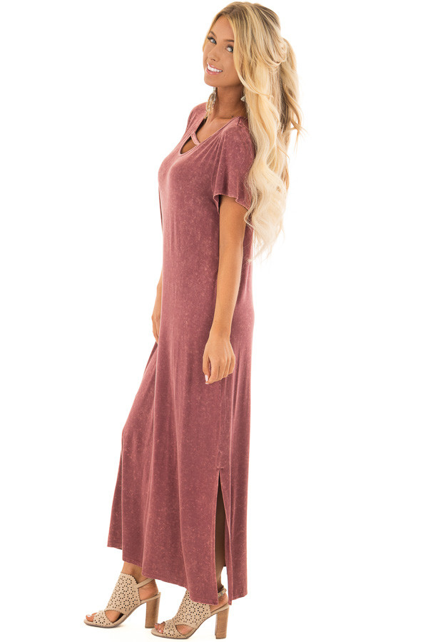 Marsala Mineral Wash Comfy Dress with Cut Out Neckline side full body