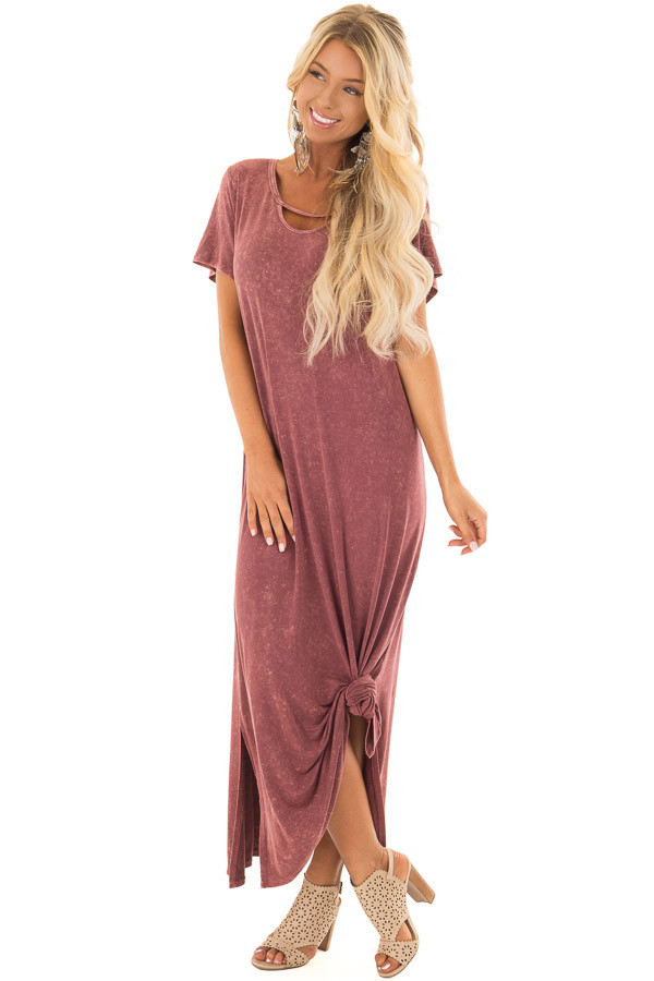 Marsala Mineral Wash Comfy Dress with Cut Out Neckline front full body