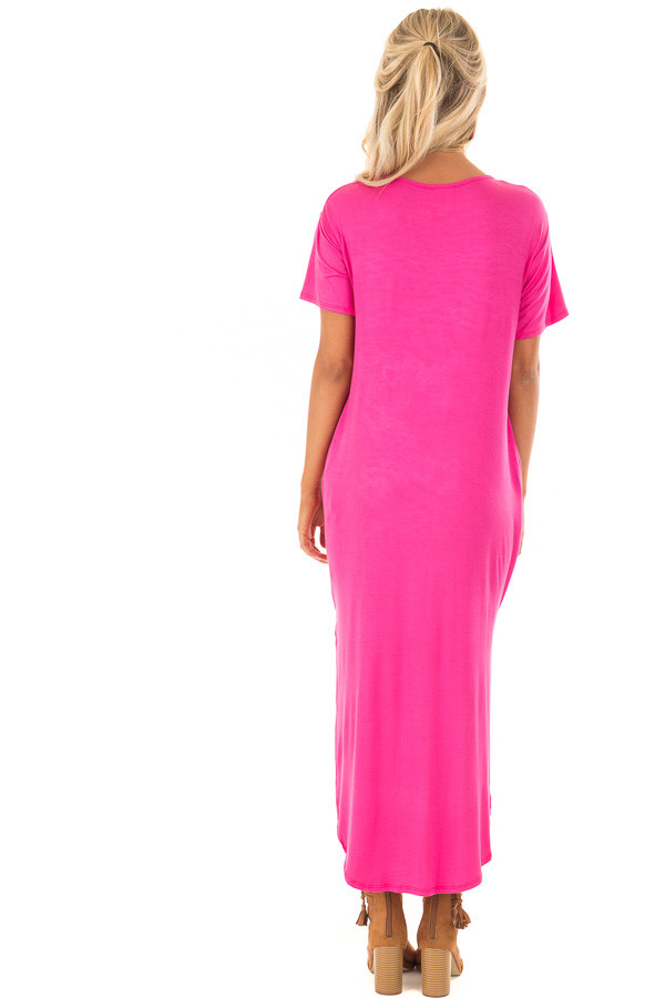Fuchsia Maxi Dress with Criss Cross Neckline back full body