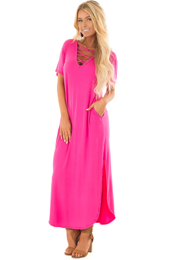 Fuchsia Maxi Dress with Criss Cross Neckline front full body
