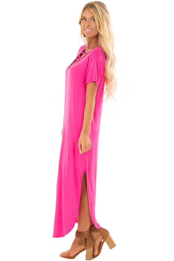 Fuchsia Maxi Dress with Criss Cross Neckline side full body