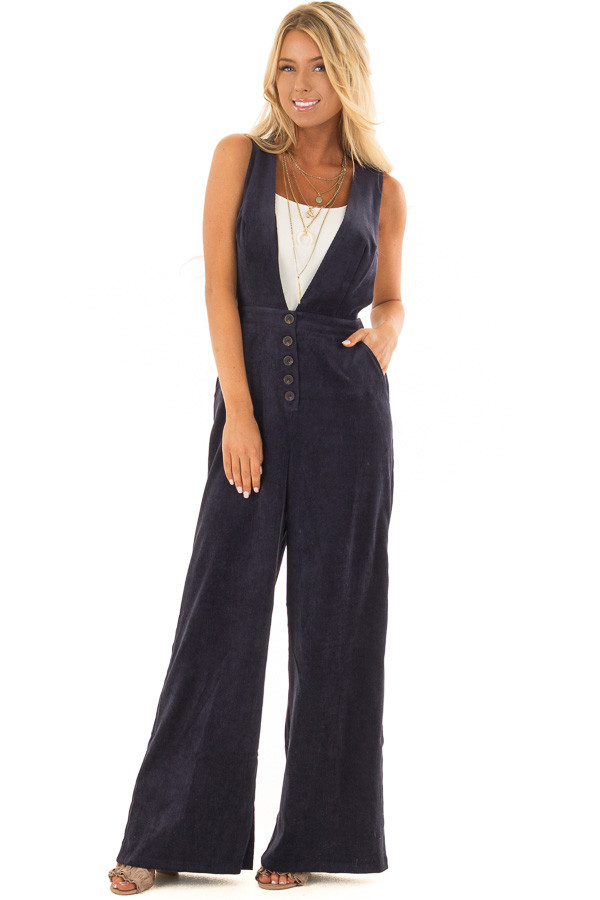 Navy Corduroy Cross Back Jumpsuit with Deep V Neckline front full body