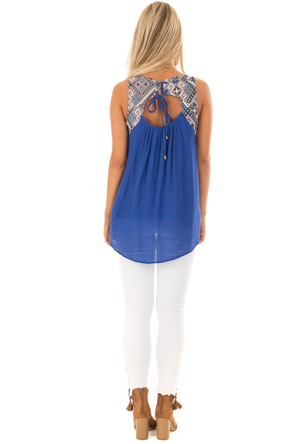 Cobalt Tank Top with Embroidered Yoke and Back Cutout Detail back full body