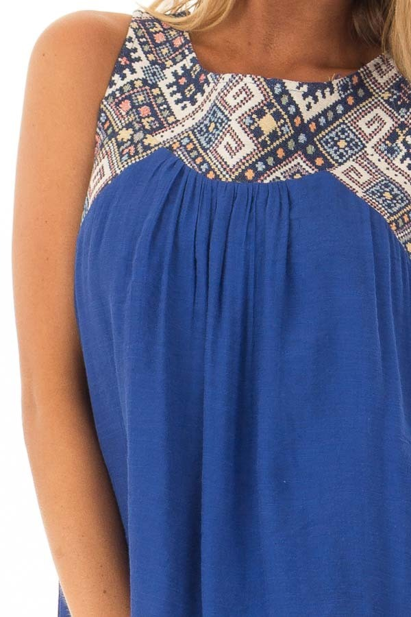 Cobalt Tank Top with Embroidered Yoke and Back Cutout Detail front detail